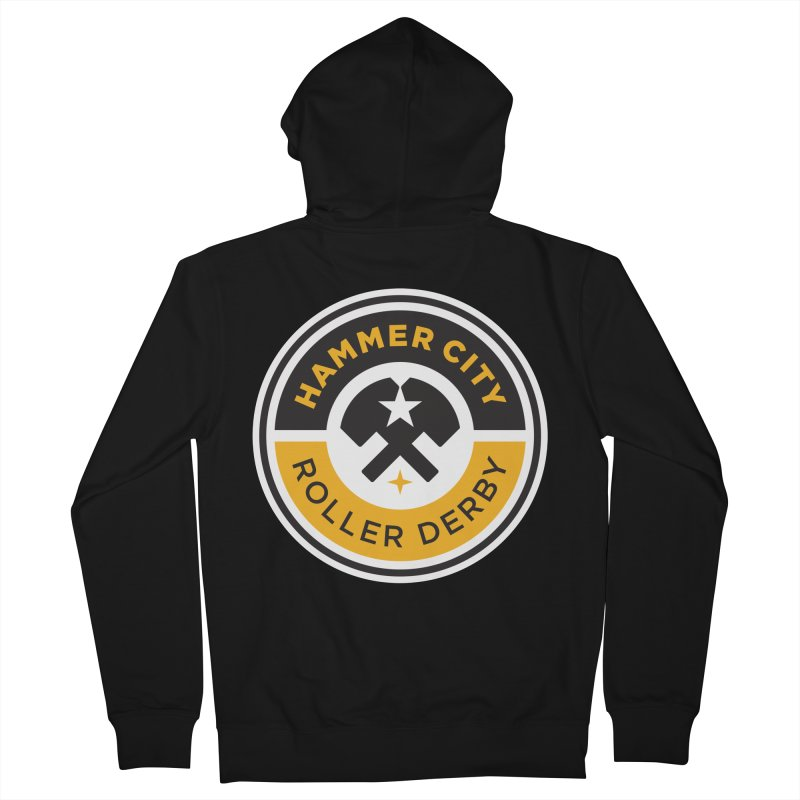 HCRD official logo Men's French Terry Zip-Up Hoody by Hammer City Roller Derby