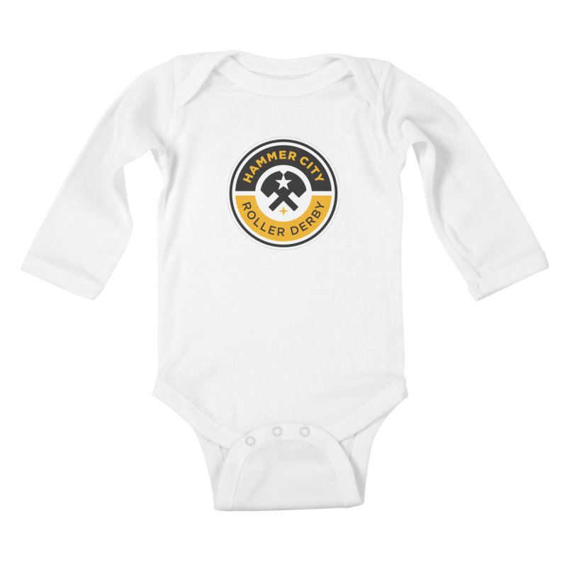 HCRD official logo Kids Baby Longsleeve Bodysuit by Hammer City Roller Derby
