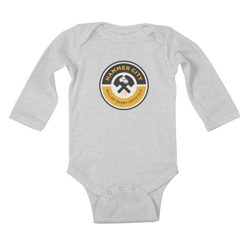 HCRD OFFICIALS Logo Kids Baby Longsleeve Bodysuit by Hammer City Roller Derby