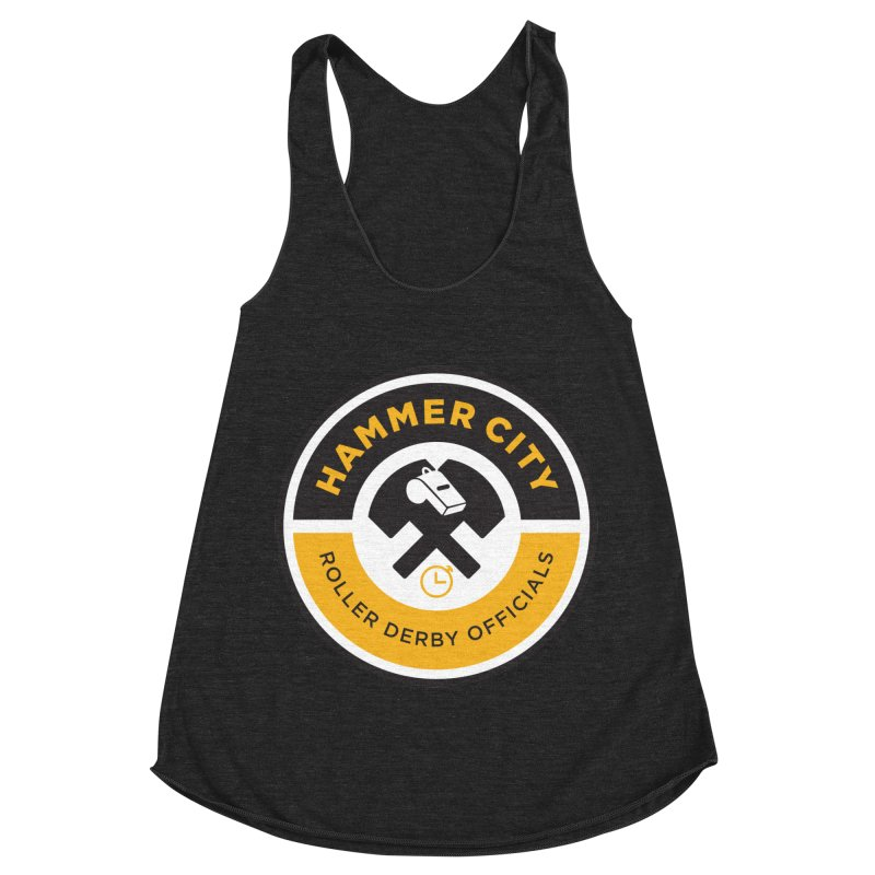 HCRD OFFICIALS Logo Women's Racerback Triblend Tank by Hammer City Roller Derby