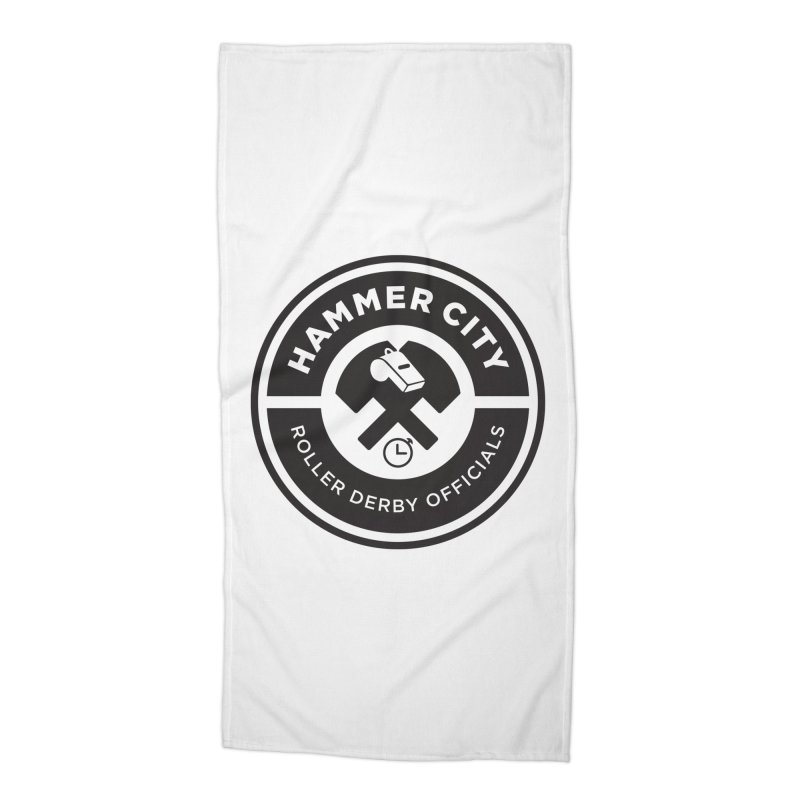 HCRD OFFICIALS Logo Accessories Beach Towel by Hammer City Roller Derby