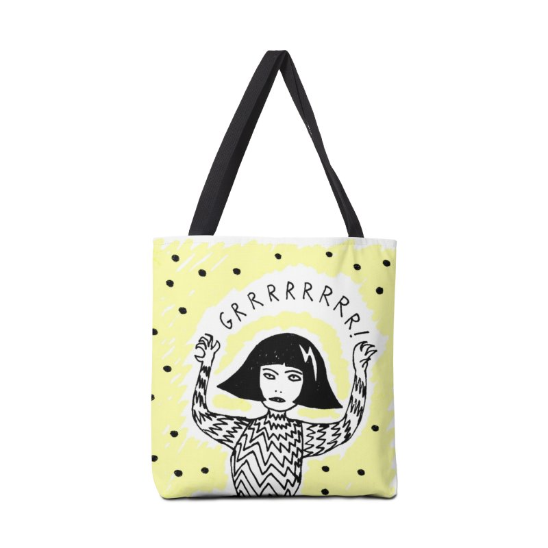 GRRR Girl - Yellow in Tote Bag by Hannah Draws