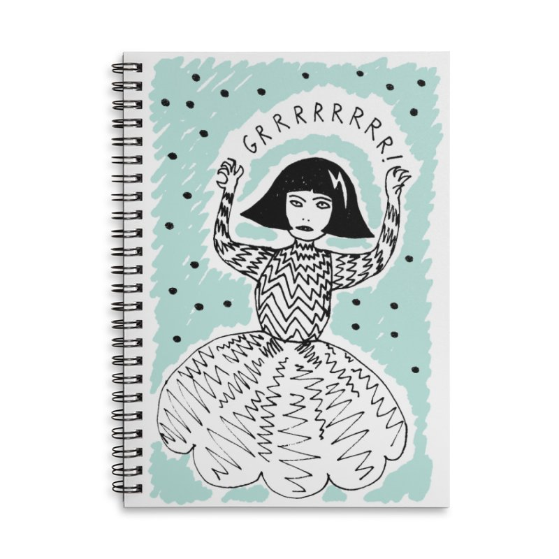 GRRR Girl - Teal in Lined Spiral Notebook by Hannah Draws