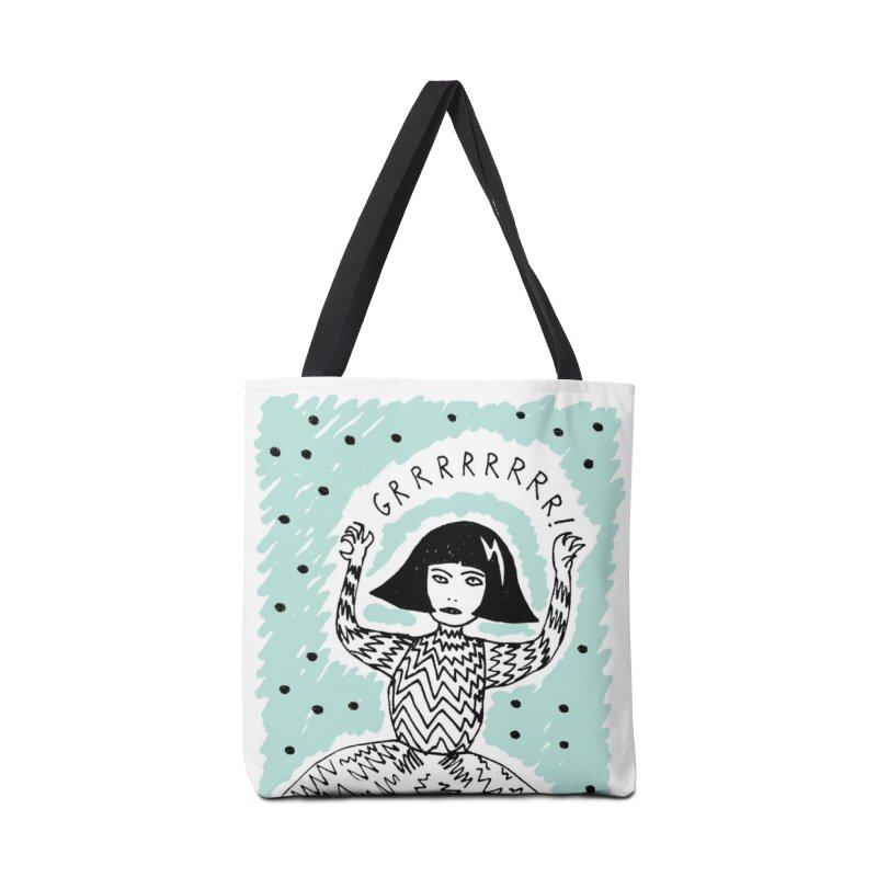 GRRR Girl - Teal Accessories Tote Bag Bag by Hannah Draws
