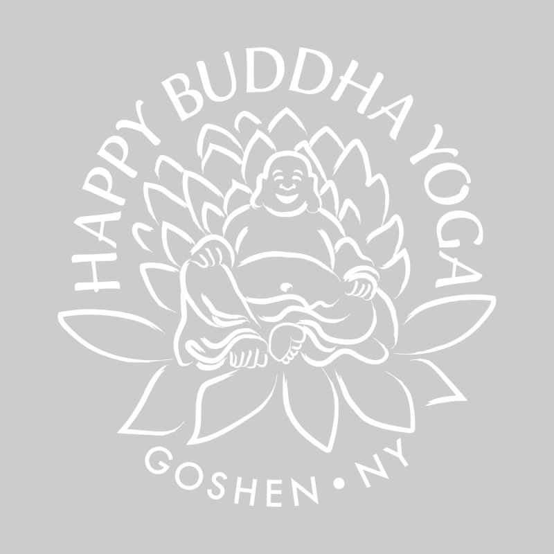 Happy Buddha Yoga White Logo Women's Scoop Neck by HappyBuddhaYoga's Artist Shop