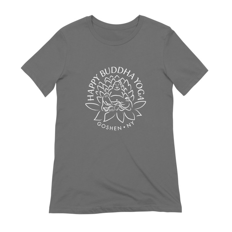 Happy Buddha Yoga White Logo Women's T-Shirt by HappyBuddhaYoga's Artist Shop