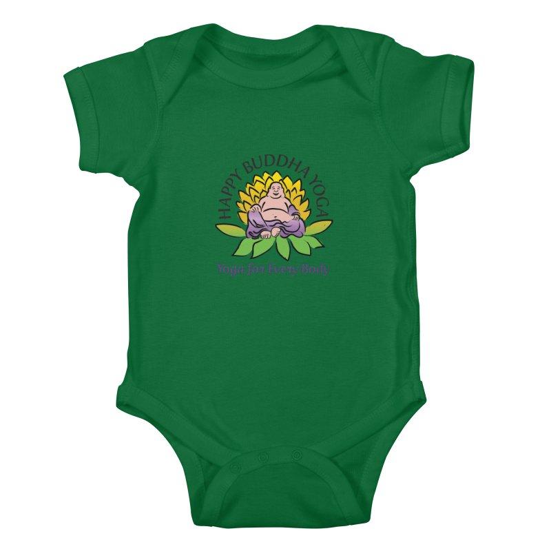 Happy Buddha Yoga Color Logo Kids Baby Bodysuit by HappyBuddhaYoga's Artist Shop