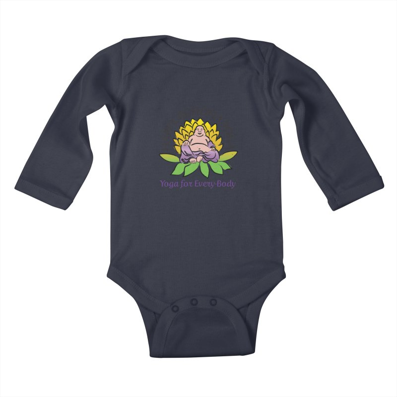 Happy Buddha Yoga Color Logo Kids Baby Longsleeve Bodysuit by HappyBuddhaYoga's Artist Shop