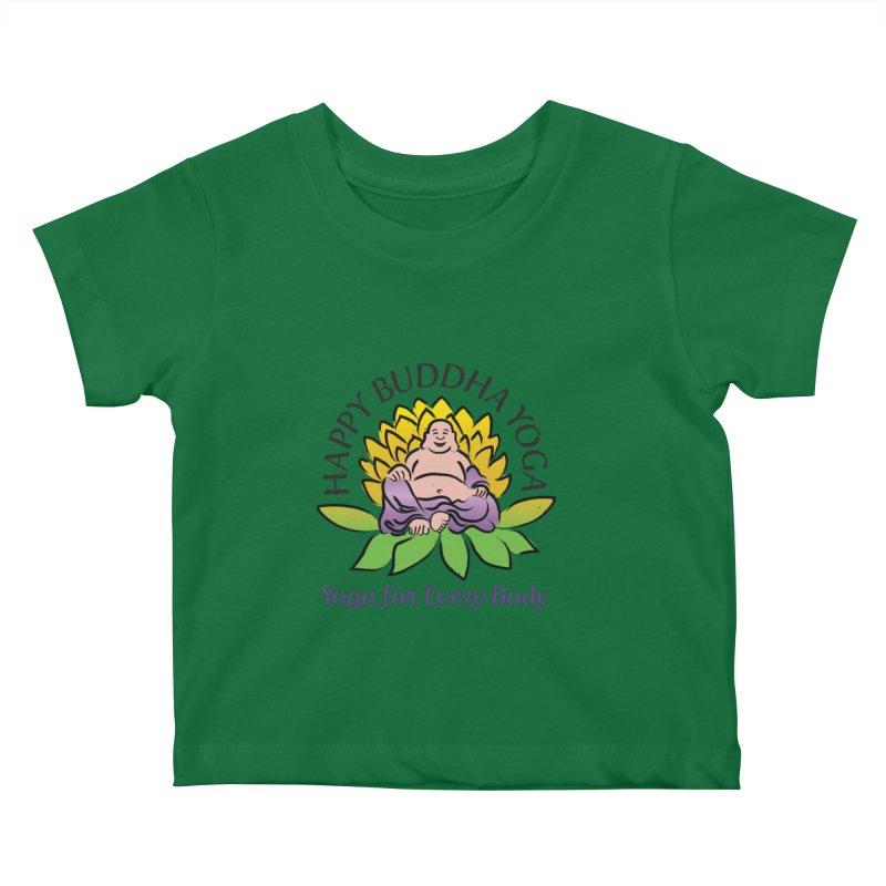 Happy Buddha Yoga Color Logo Kids Baby T-Shirt by HappyBuddhaYoga's Artist Shop