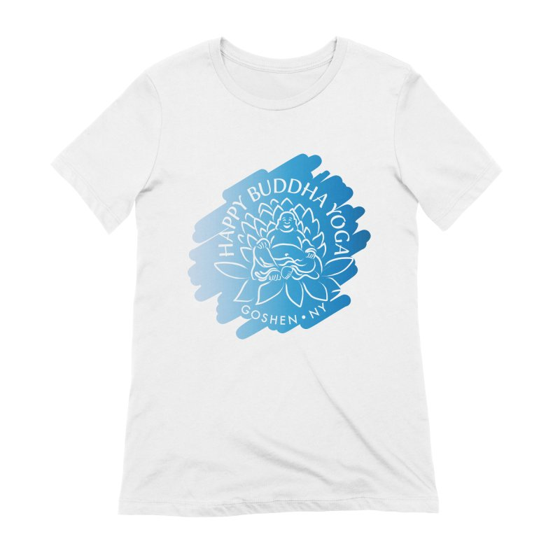 Happy Buddha Yoga Blue Swash Logo Women's T-Shirt by HappyBuddhaYoga's Artist Shop
