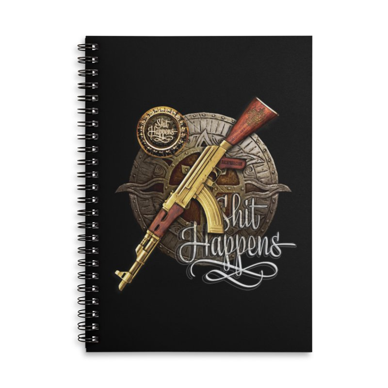 Shit Happens Accessories Lined Spiral Notebook by HappyRonin's Artist Shop