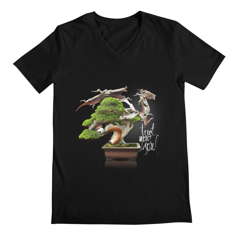Bonsai Dragon Men's V-Neck by HappyRonin's Artist Shop