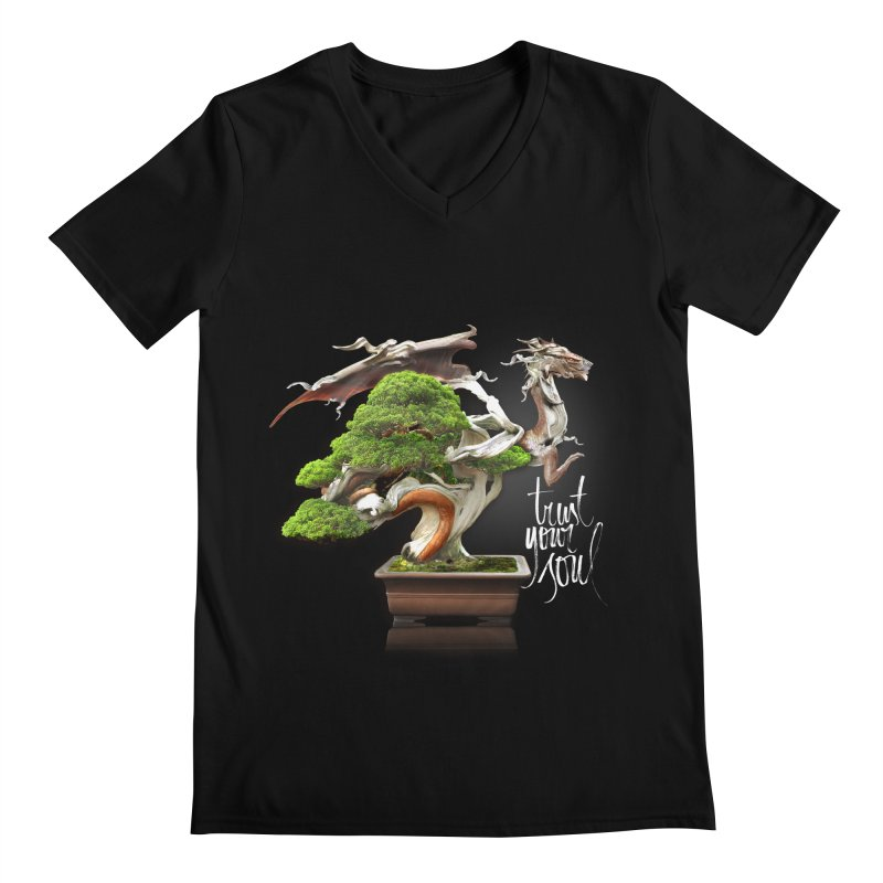 Bonsai Dragon Men's Regular V-Neck by HappyRonin's Artist Shop