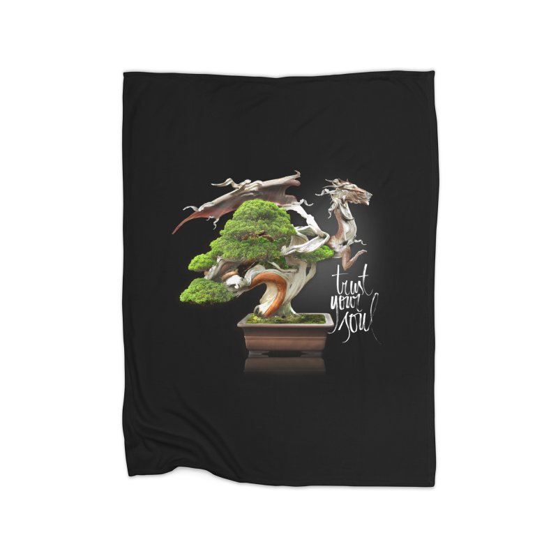 Bonsai Dragon Home Fleece Blanket Blanket by HappyRonin's Artist Shop