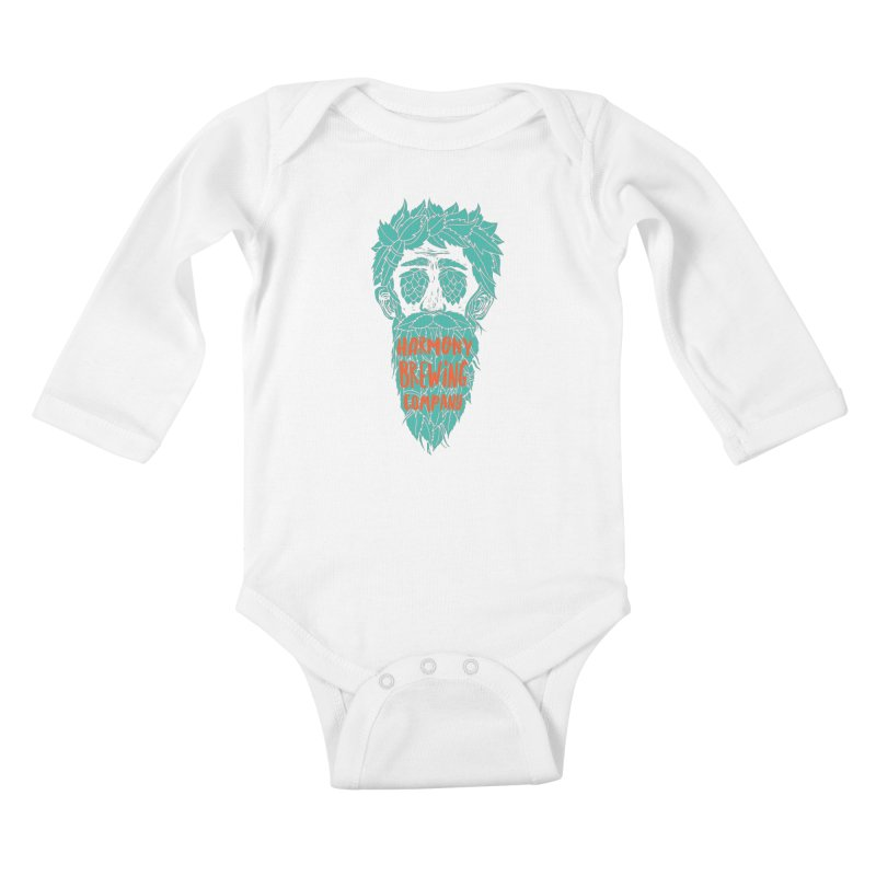 Teal Hopeyed guy Kids Baby Longsleeve Bodysuit by Harmony Brewing Company