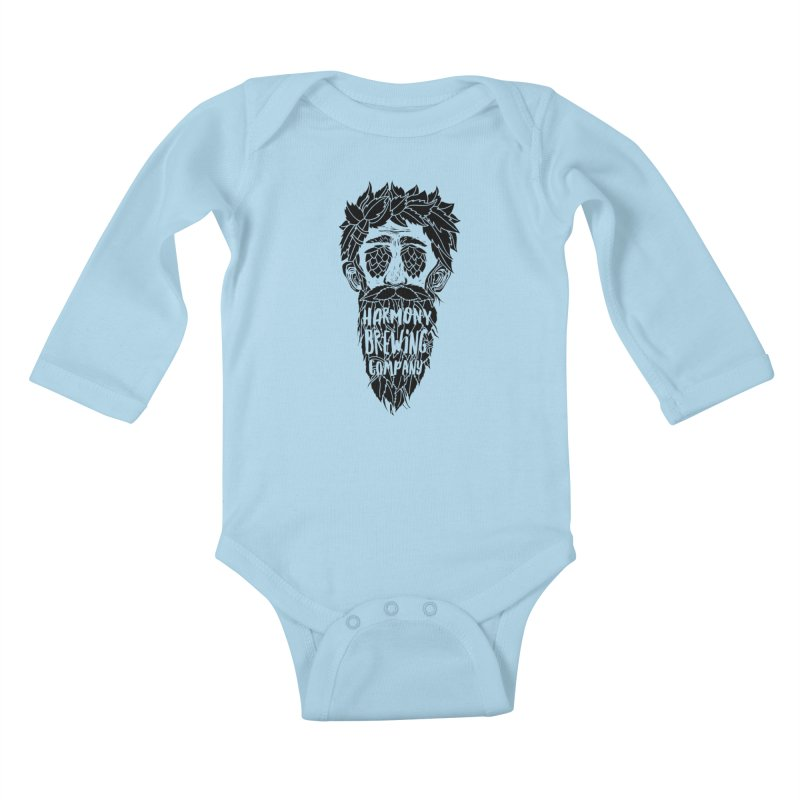 Hop Eyed Guy Kids Baby Longsleeve Bodysuit by Harmony Brewing Company