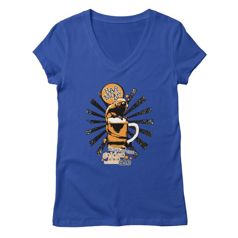 Golden Lion Tamarin Women's V-Neck by Harmony Brewing Company
