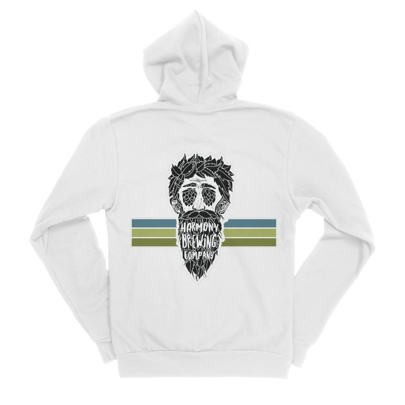 Stripey Hop Eyed Guy Men's Sponge Fleece Zip-Up Hoody by Harmony Brewing Company