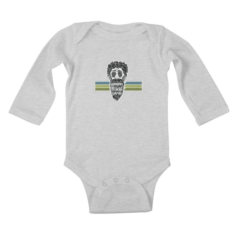 Stripey Hop Eyed Guy Kids Baby Longsleeve Bodysuit by Harmony Brewing Company