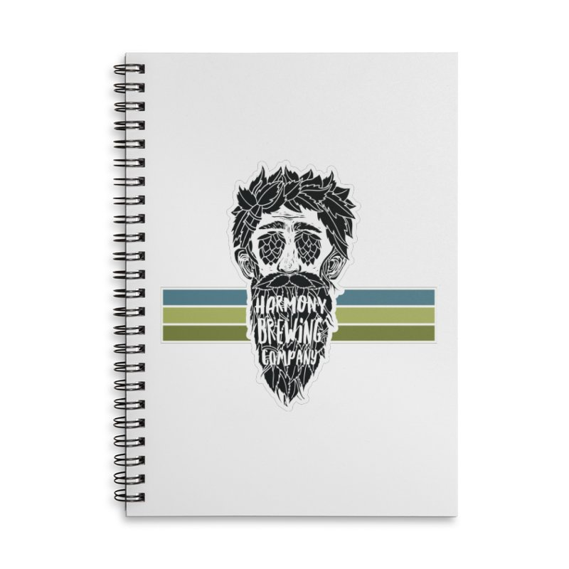 Stripey Hop Eyed Guy Accessories Lined Spiral Notebook by Harmony Brewing Company