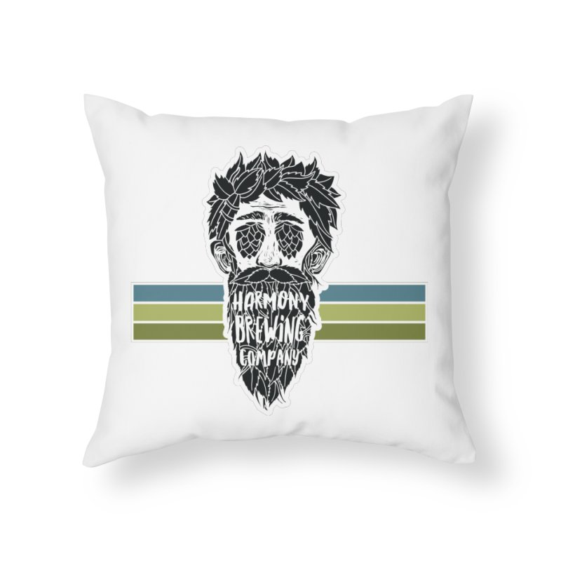 Stripey Hop Eyed Guy Home Throw Pillow by Harmony Brewing Company