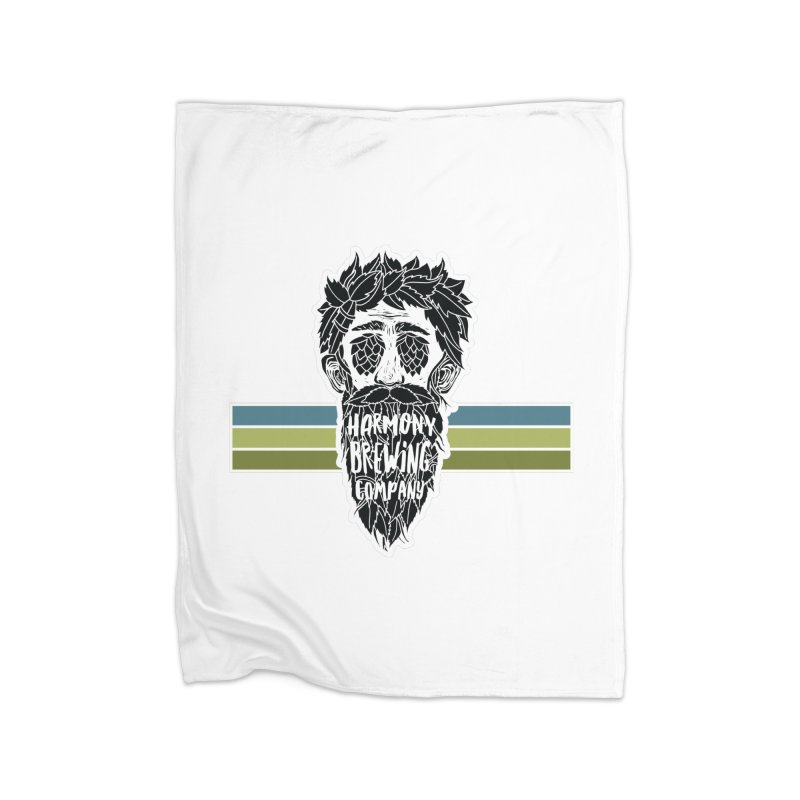Stripey Hop Eyed Guy Home Fleece Blanket Blanket by Harmony Brewing Company