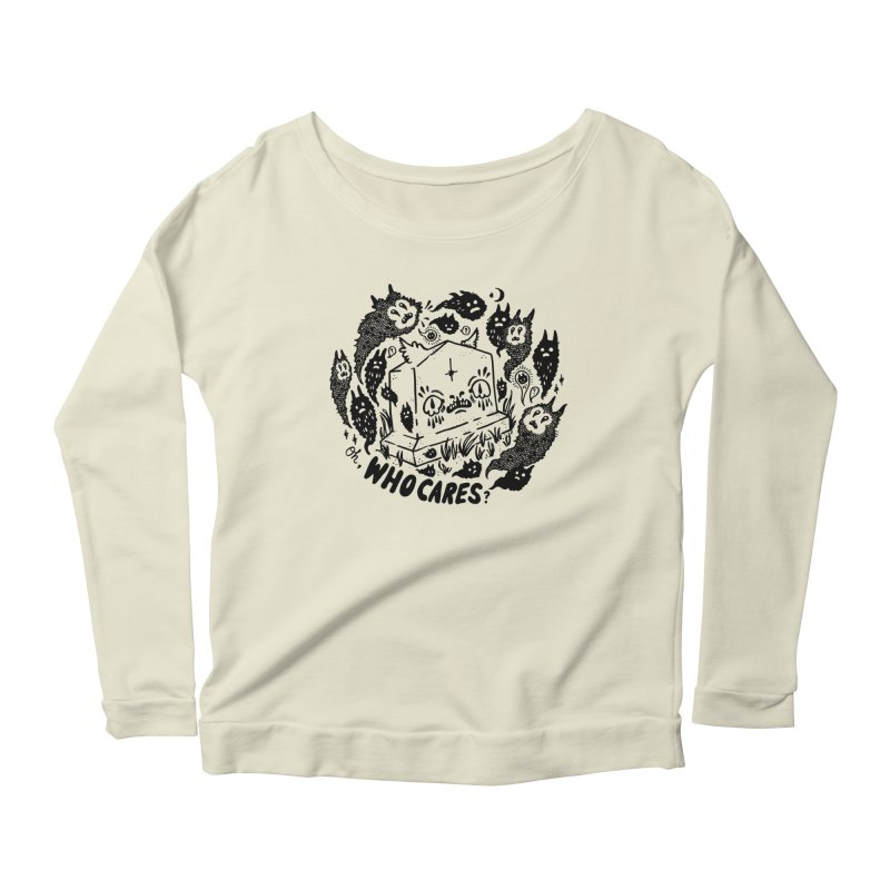 Oh, who cares? Women's Longsleeve Scoopneck  by Haypeep's Artist Shop