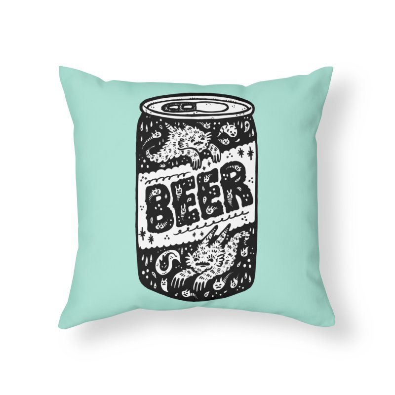 Beer can (white inside) Home Throw Pillow by Haypeep's Artist Shop