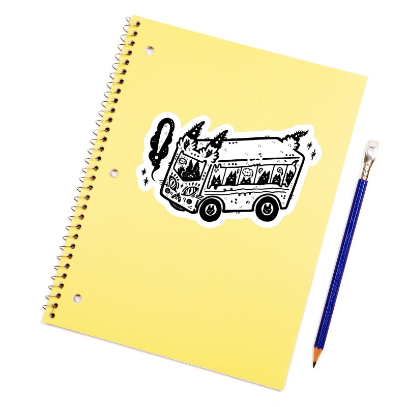 Silly bus (syllabus?), white background, no text Accessories Sticker by Haypeep's Artist Shop