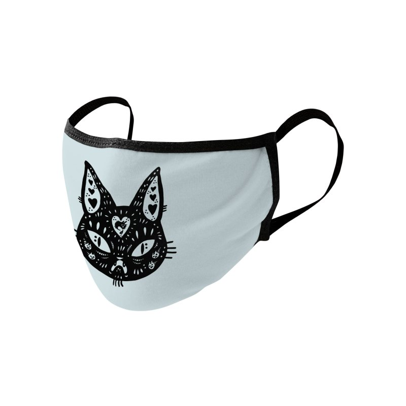 Cat face (with hearts) Accessories Face Mask by Haypeep's Artist Shop