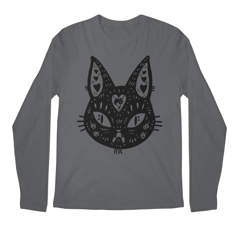 Cat face (with hearts) Men's Longsleeve T-Shirt by Haypeep's Artist Shop