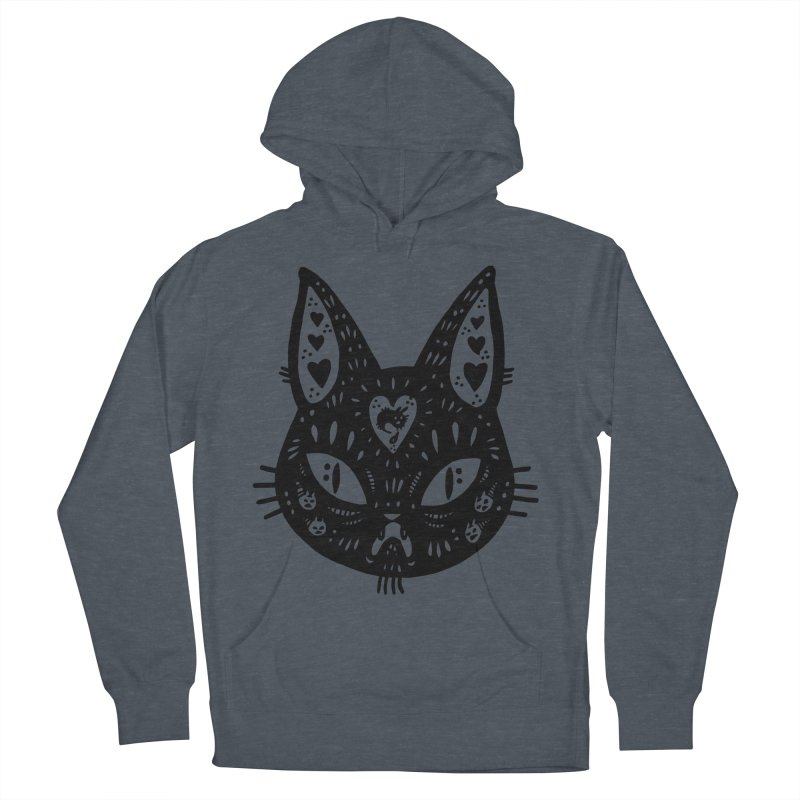 Cat face (with hearts) Women's French Terry Pullover Hoody by Haypeep's Artist Shop