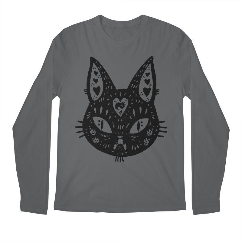 Cat face (with hearts) Men's Regular Longsleeve T-Shirt by Haypeep's Artist Shop