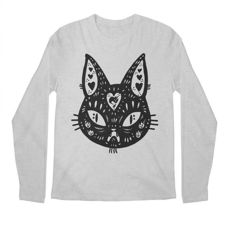Cat face (with hearts) Men's Regular Longsleeve T-Shirt by Haypeep's Artist Shop