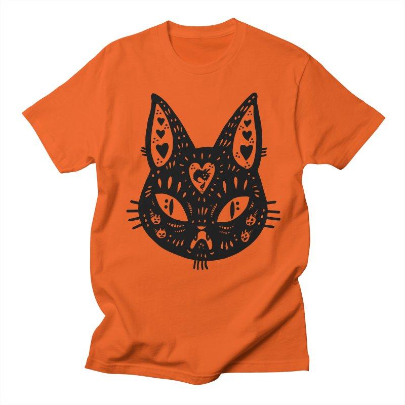 Cat face (with hearts) Men's Regular T-Shirt by Haypeep's Artist Shop