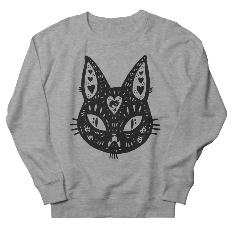 Cat face (with hearts) Women's French Terry Sweatshirt by Haypeep's Artist Shop