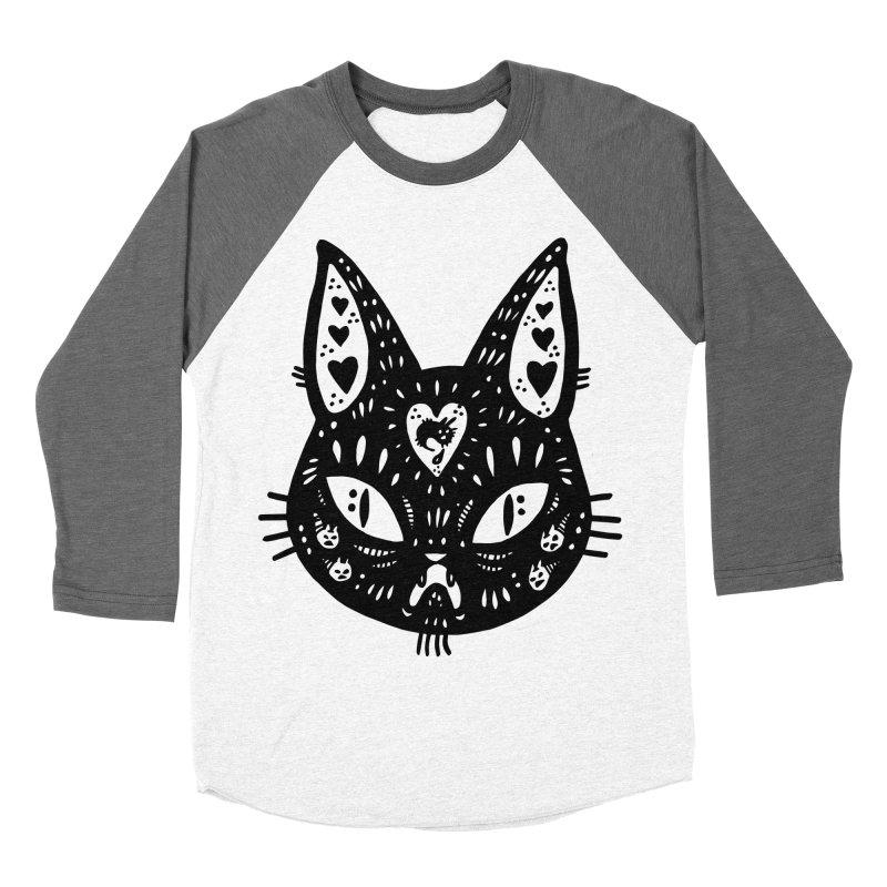 Cat face (with hearts) Women's Baseball Triblend Longsleeve T-Shirt by Haypeep's Artist Shop