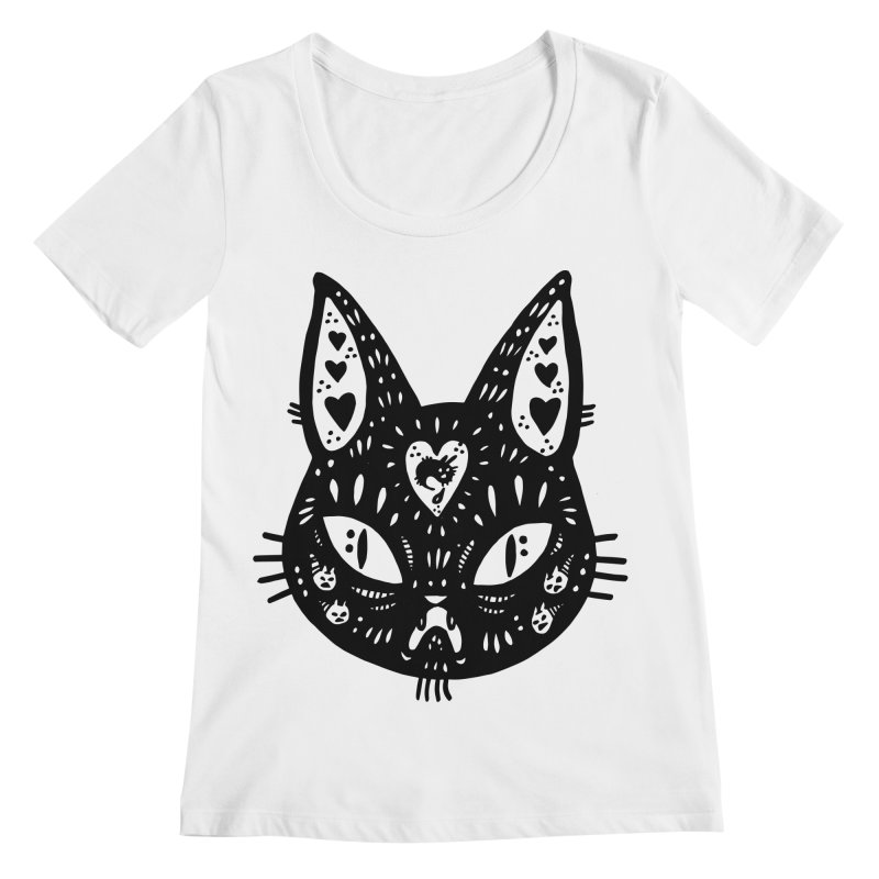 Cat face (with hearts) Women's Regular Scoop Neck by Haypeep's Artist Shop