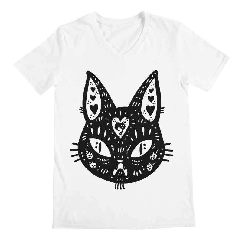 Cat face (with hearts) Men's V-Neck by Haypeep's Artist Shop
