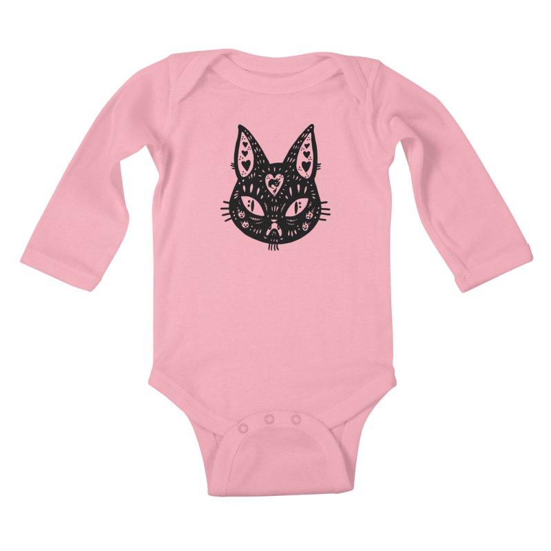 Cat face (with hearts) Kids Baby Longsleeve Bodysuit by Haypeep's Artist Shop