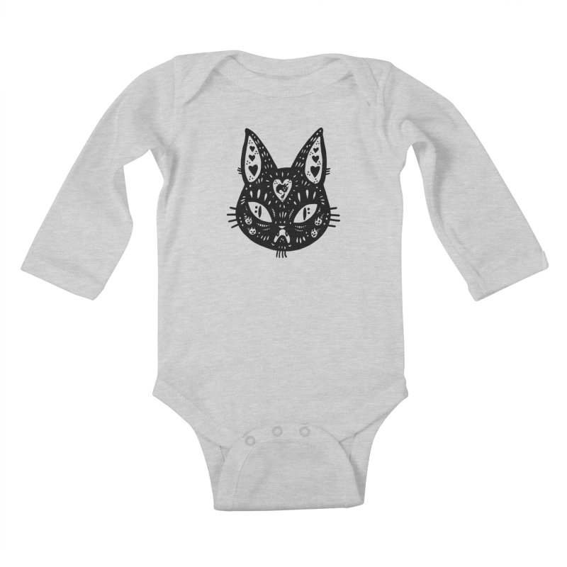 Cat face (with hearts) Kids Baby Longsleeve Bodysuit by Haypeep's Artist Shop