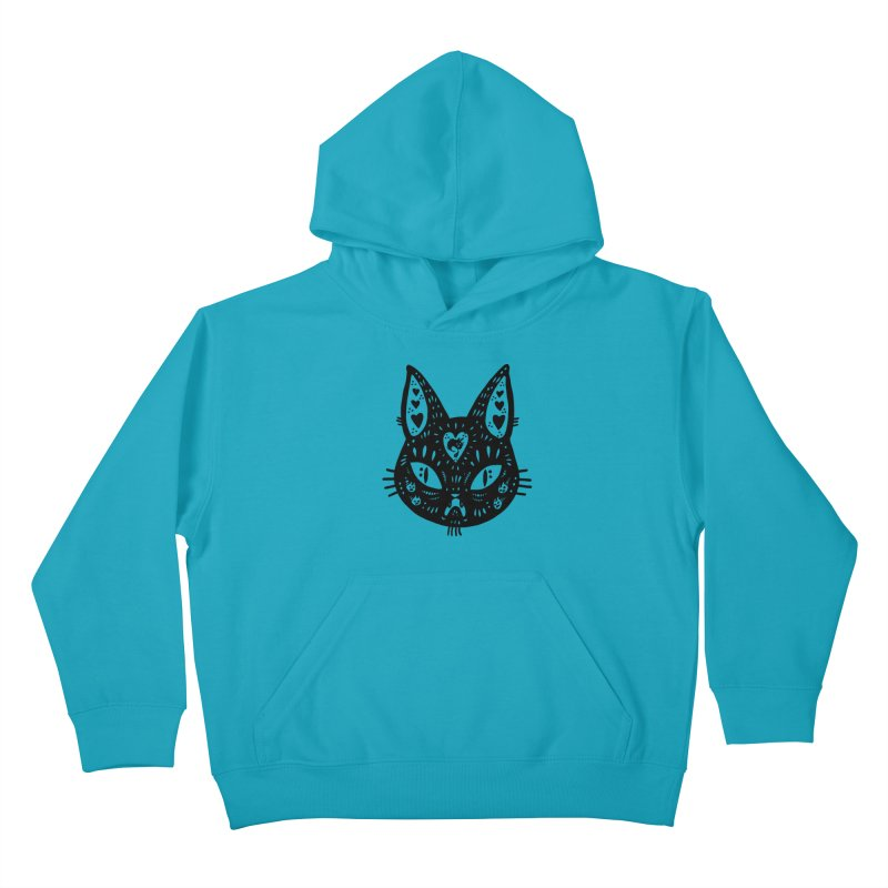Cat face (with hearts) Kids Pullover Hoody by Haypeep's Artist Shop