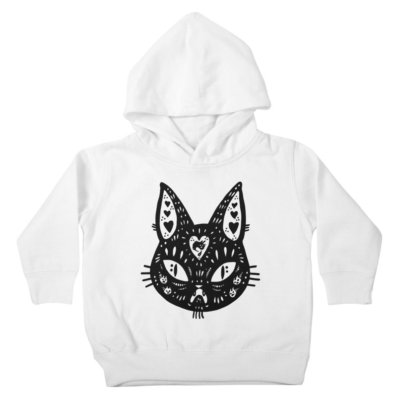 Cat face (with hearts) Kids Toddler Pullover Hoody by Haypeep's Artist Shop