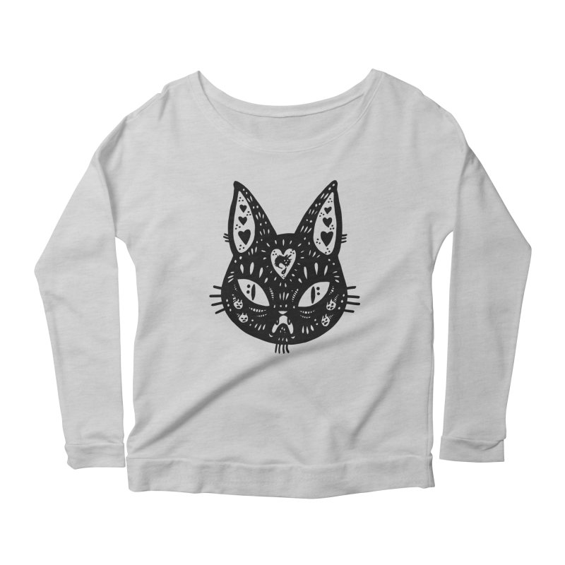 Cat face (with hearts) Women's Scoop Neck Longsleeve T-Shirt by Haypeep's Artist Shop