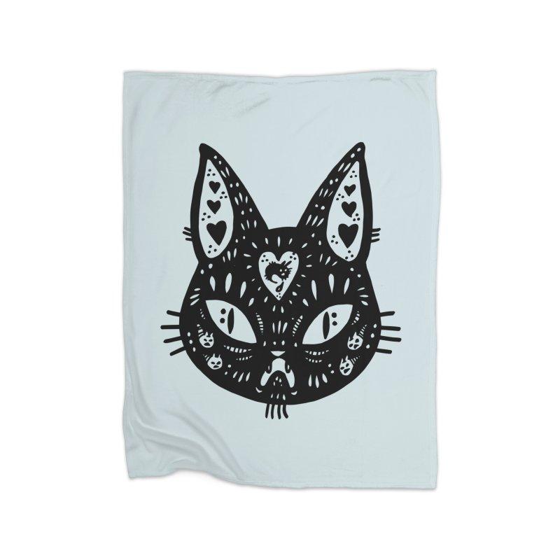Cat face (with hearts) Home Fleece Blanket Blanket by Haypeep's Artist Shop