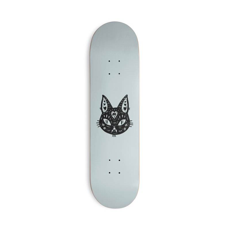 Cat face (with hearts) Accessories Deck Only Skateboard by Haypeep's Artist Shop