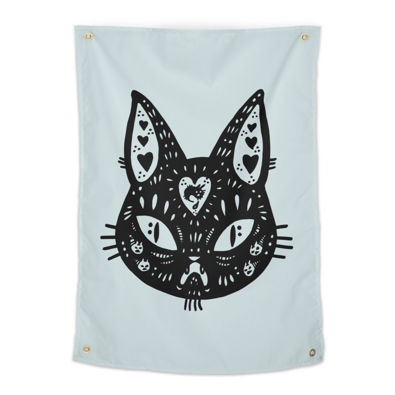 Cat face (with hearts) Home Tapestry by Haypeep's Artist Shop