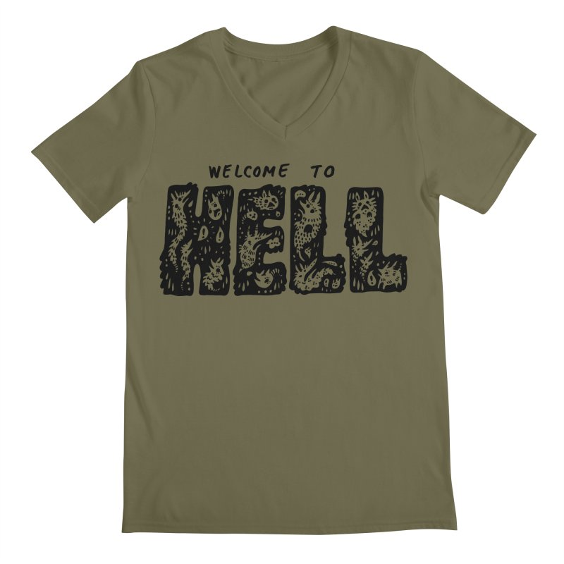 Welcome To Hell Men's Regular V-Neck by Haypeep's Artist Shop
