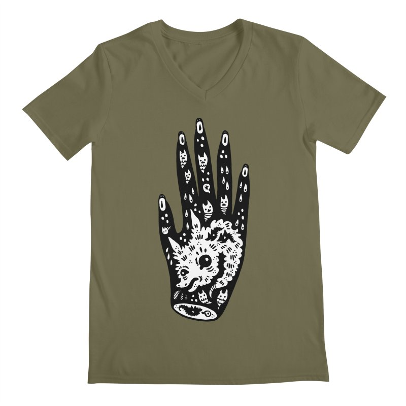 Right Hand (white inside) Men's Regular V-Neck by Haypeep's Artist Shop