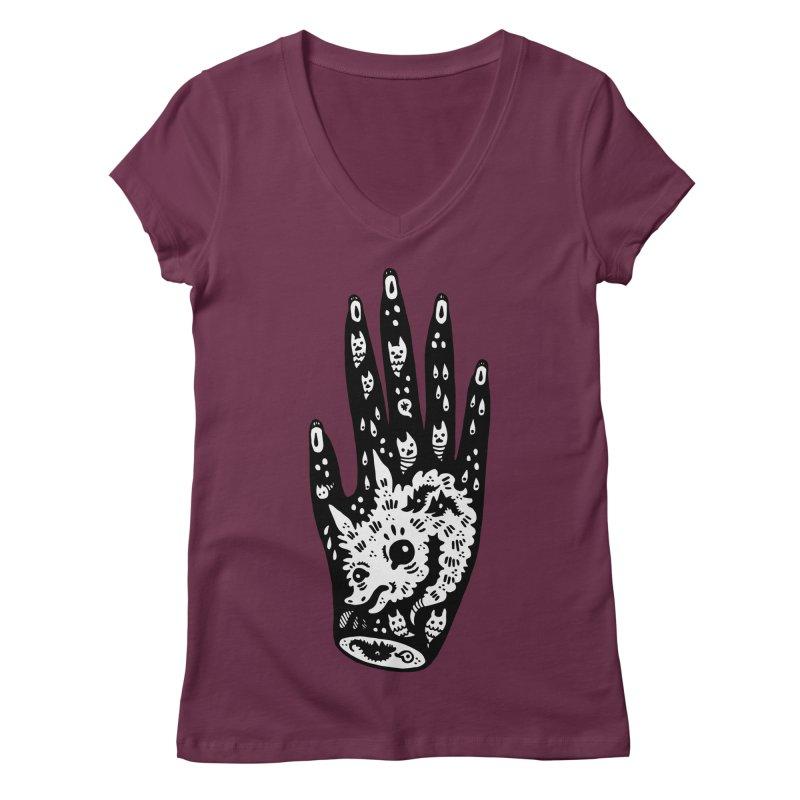 Right Hand (white inside) Women's Regular V-Neck by Haypeep's Artist Shop